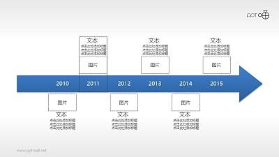 蓝色商务时间轴PPT模板下载