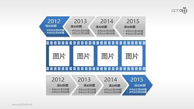 电影胶片式PPT时间轴模板