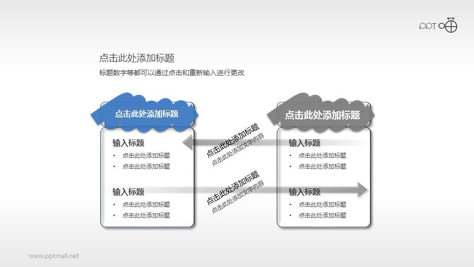 两部分并列对比型PPT逻辑图表素材