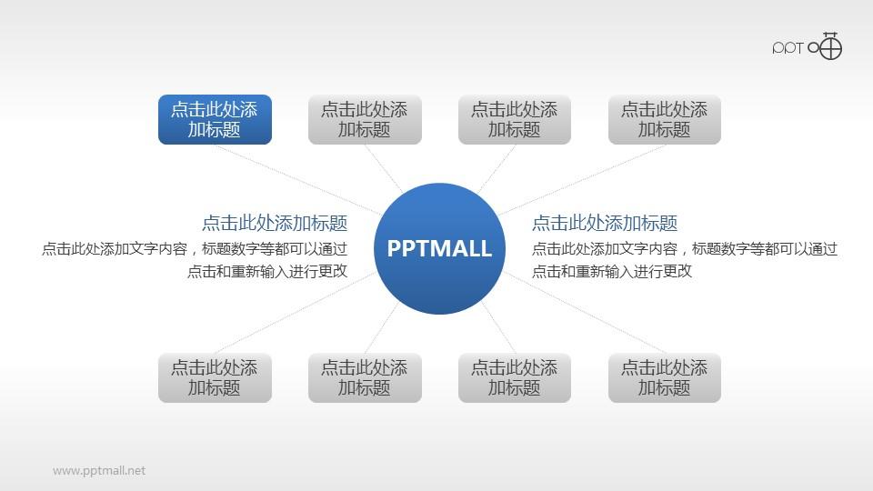 总分关系图表PPT素材模板