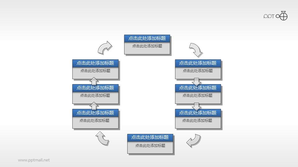 多部分循环关系的PPT流程图素材