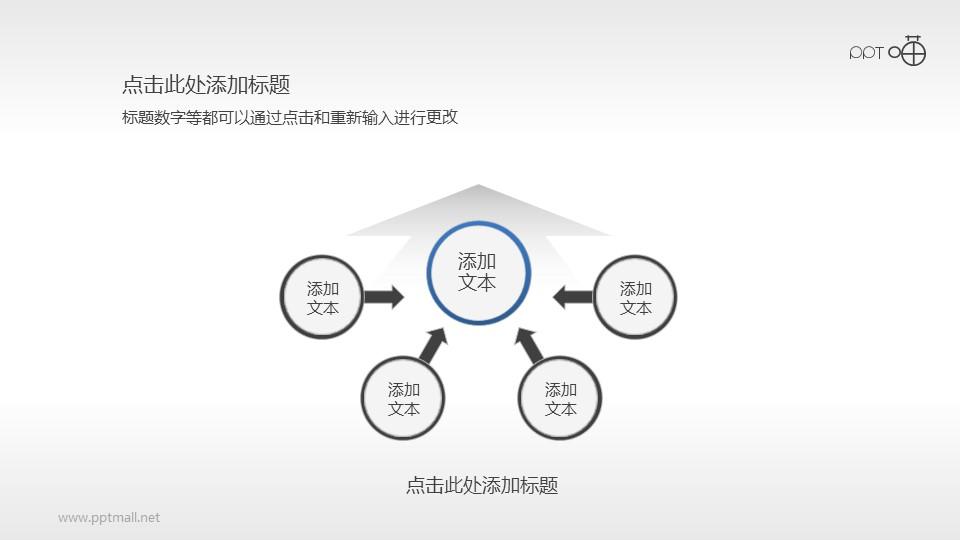 扁平化四部分总分关系PPT素材