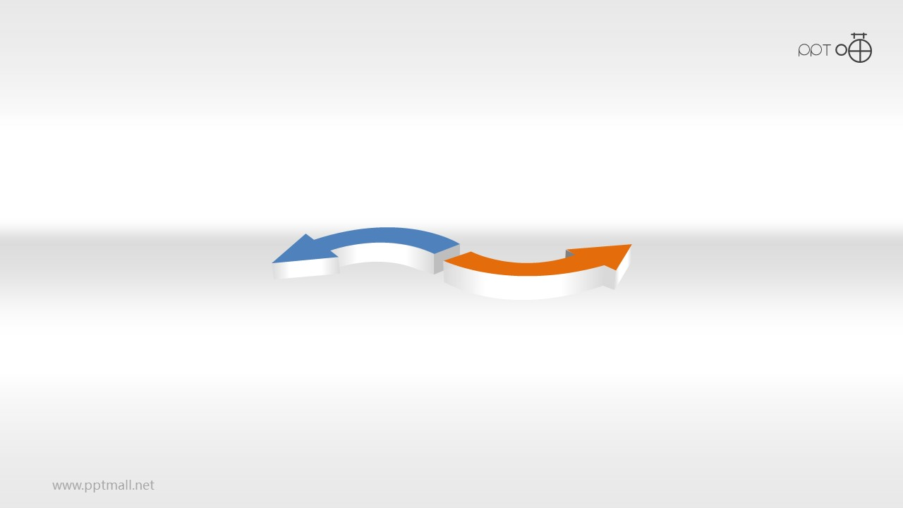 2个立体并列的对比箭头