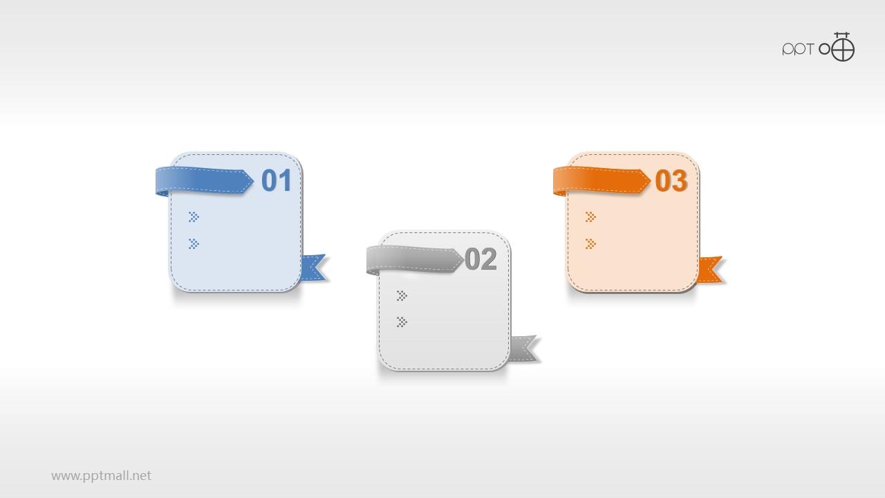 皮革风的3个并列关系的要点PPT素材