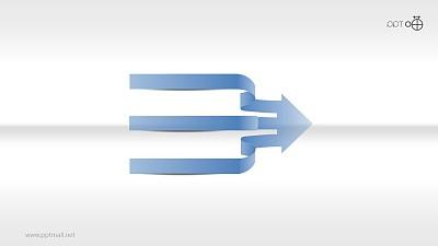 丝带风3项合流的箭头图 PPT素材