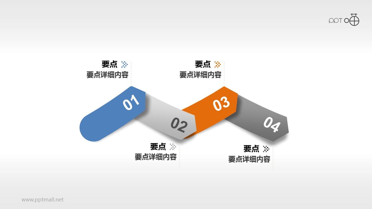 波浪形4阶段箭头状PPT模版下载