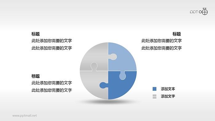 圆形拼图四部分关系ppt素材_幻灯片预览图1