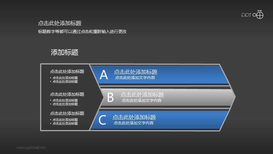 3部分并列关系/递进关系PPT模板
