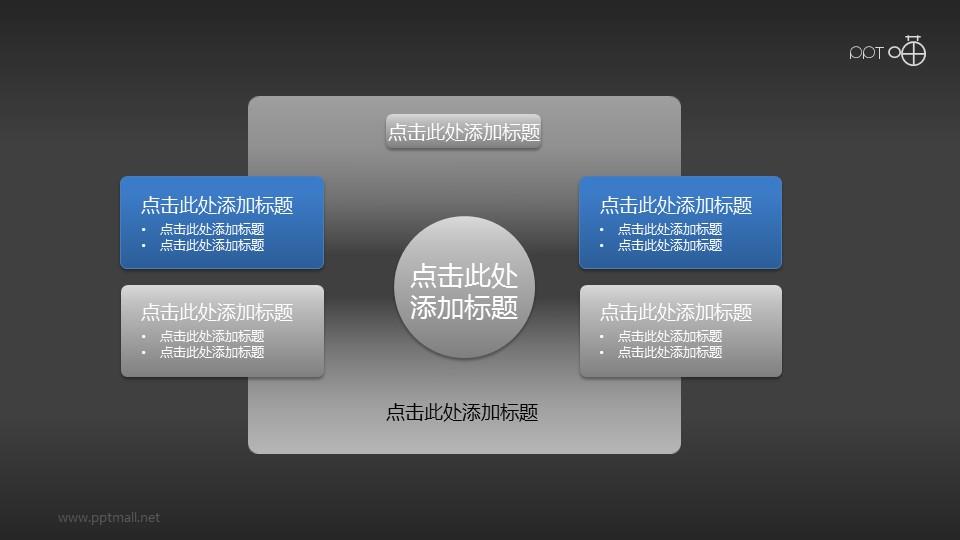 微立体风矩形4部分总分关系PPT素材