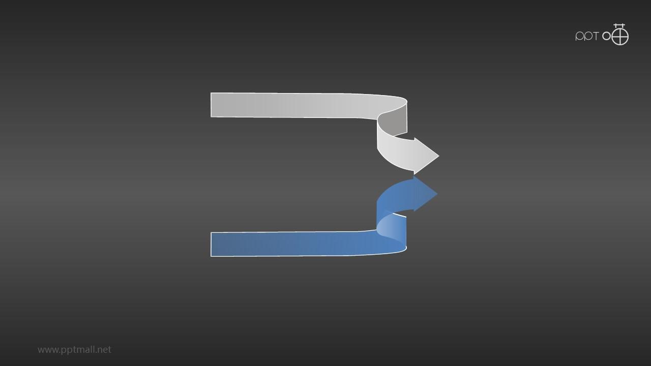 2个同向对称合流箭头PPT素材