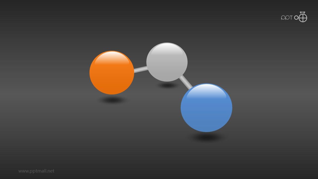 3个连成一体的立体小球PPT模版下载