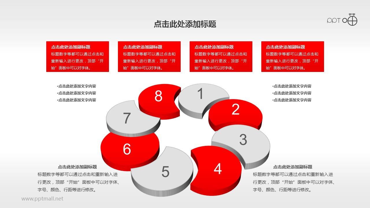 多页并列循环8步骤PPT素材
