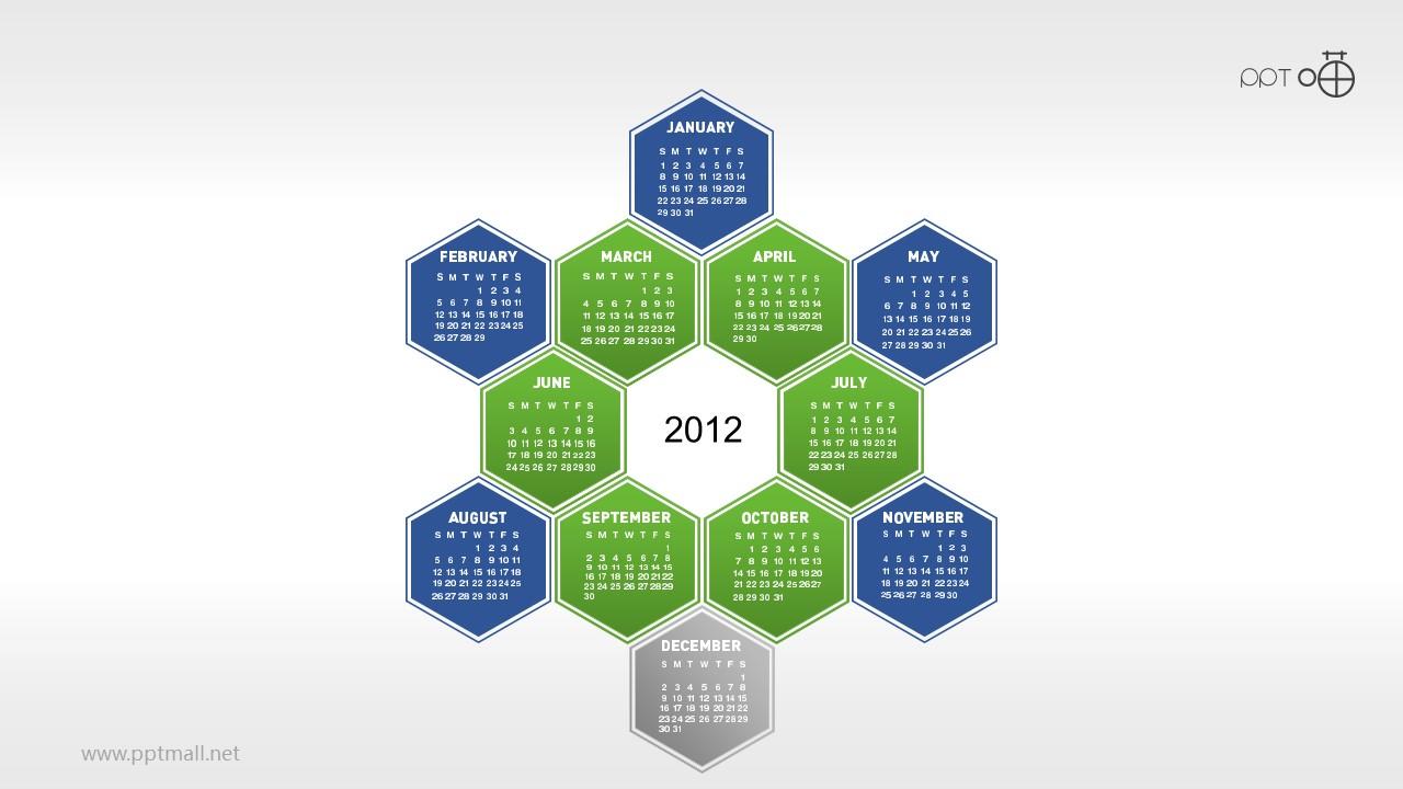 一年12个月年历的蜂窝图PPT素材