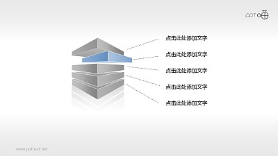 微立体方块五部分PPT素材