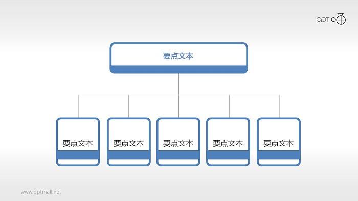 扁平化五部分总分关系PPT下载_幻灯片预览图1