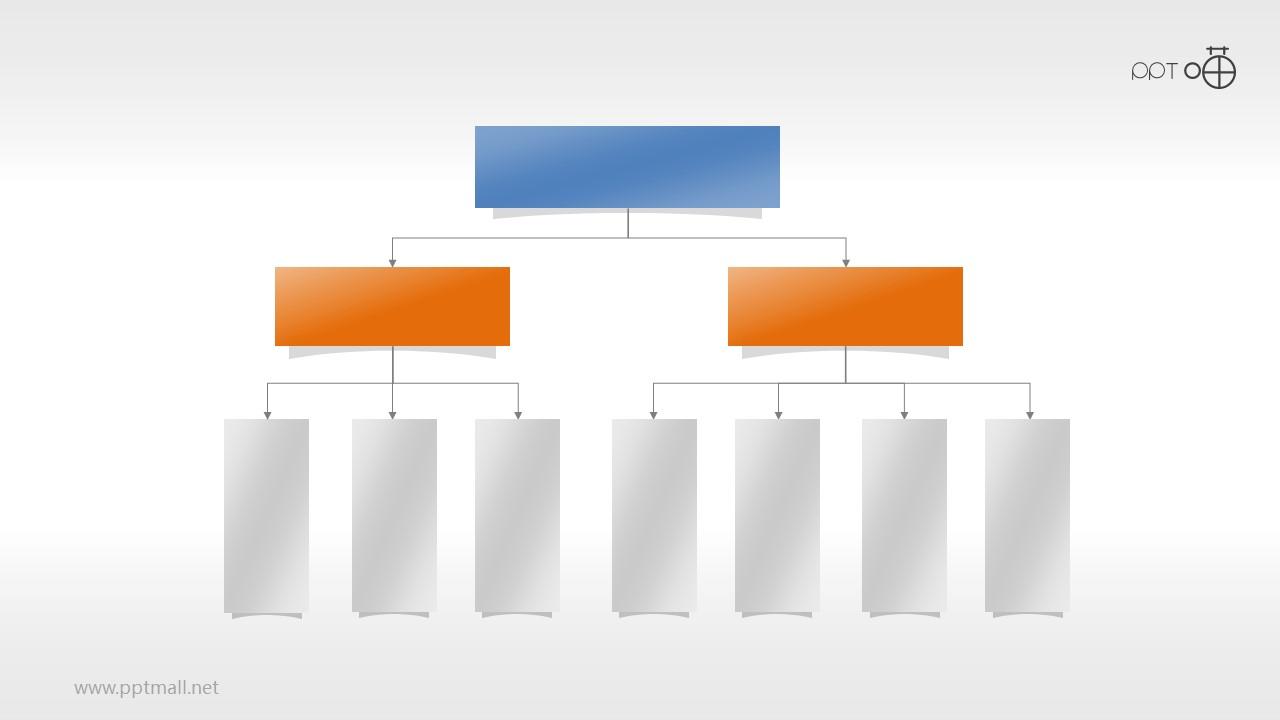 扁平化方形层级关系PPT素材下载