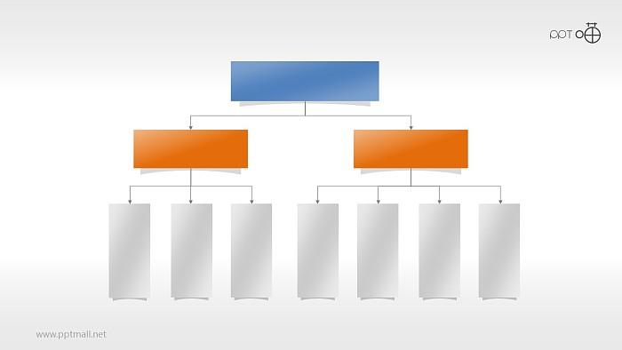 扁平化方形层级关系PPT素材下载_幻灯片预览图1