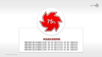 带有百分比数值的红色六角风车形状PPT素材