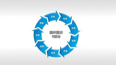 循环图示9部分PPT模板素材