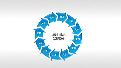 循环图示12部分PPT模板下载