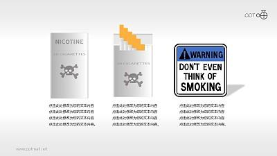 吸烟有害健康的香烟盒和禁烟标志素材