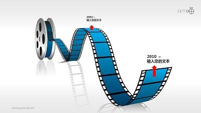 时间轴电影胶片盘效果素材PPT模板下载