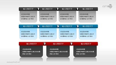 文本框(16)—3部分并列/递进的文本框PPT素材