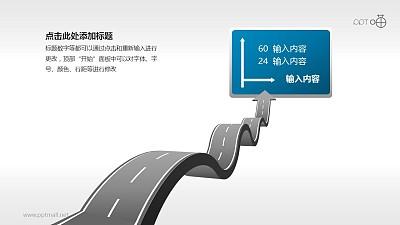 驾考/交通运输PPT素材(03)—路牌和起伏道路PPT素材