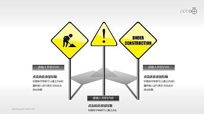 驾考/交通运输PPT素材(11)—前方施工警示牌PPT素材