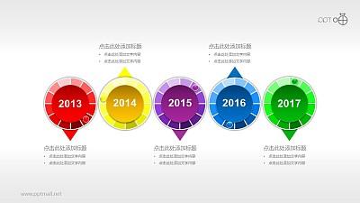 多彩微立体时间轴(系列-13)PPT模板