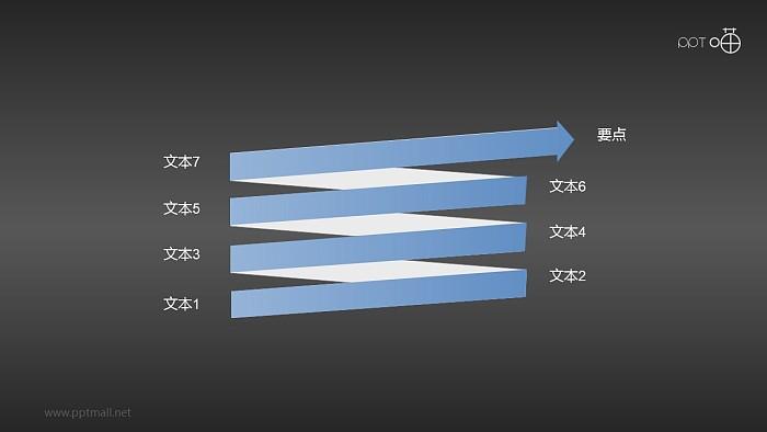 扁平化螺旋箭头关系PPT素材_幻灯片预览图2