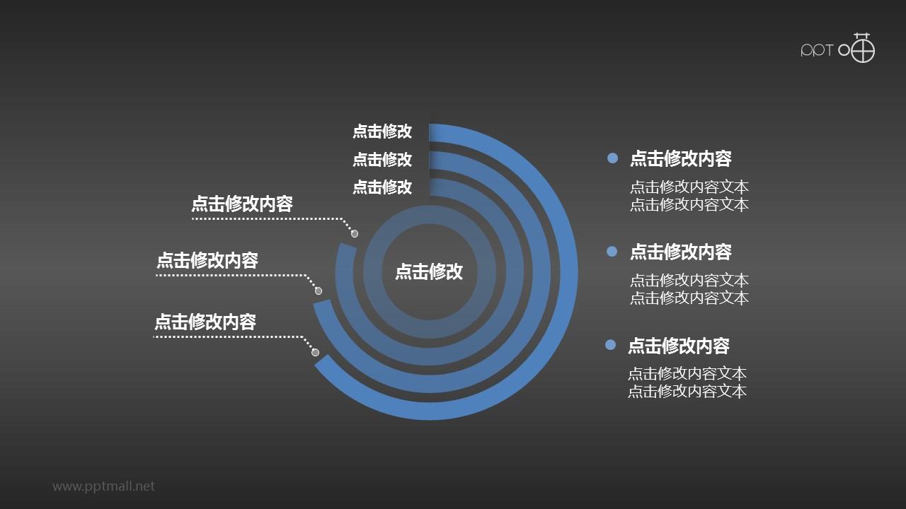 三层环形PPT图表下载