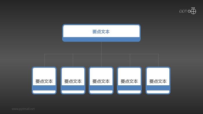 扁平化五部分总分关系PPT下载_幻灯片预览图2