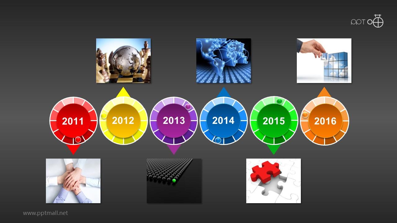 多彩微立体时间轴(系列-15)PPT素材