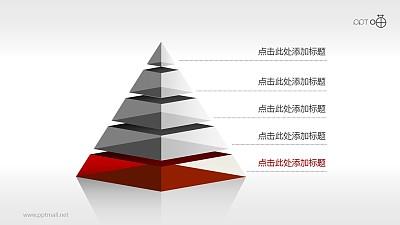 金字塔PPT模板[5部分结构]下载