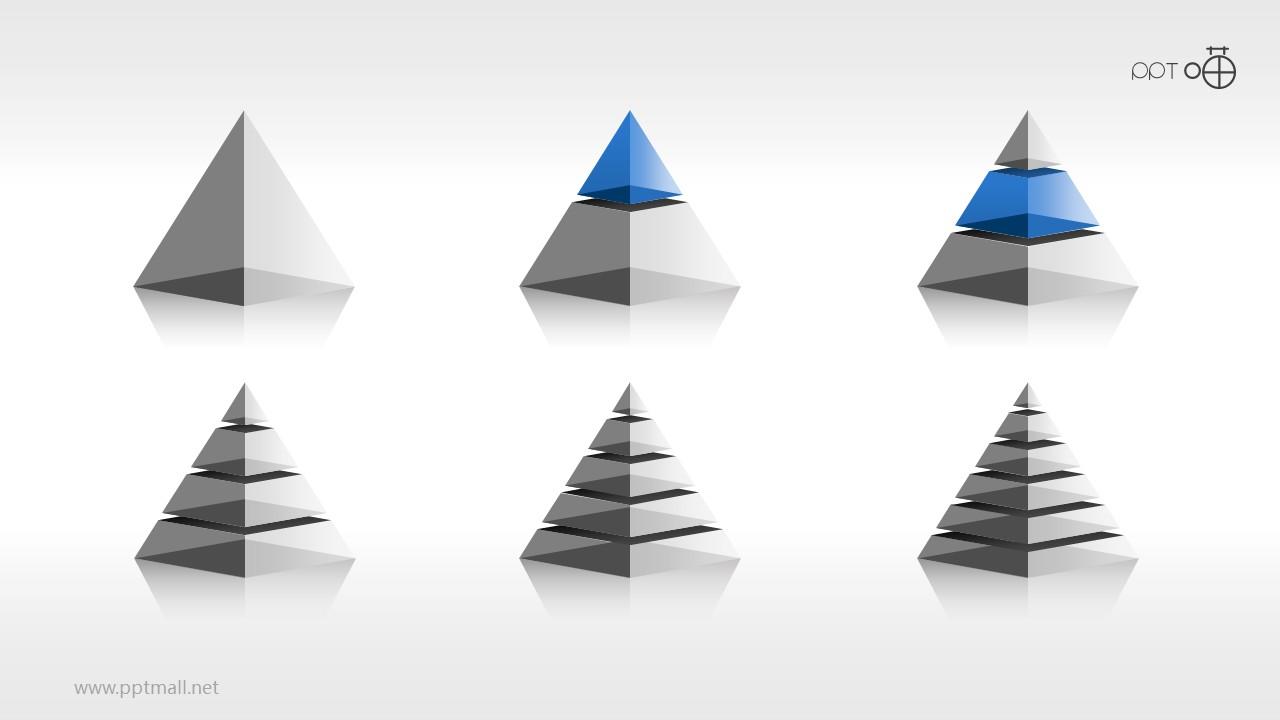 立体质感金字塔PPT模板下载[1-6层结构合集]