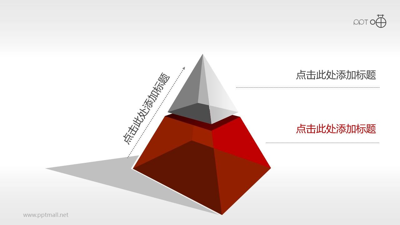 2层结构的金字塔PPT模板下载(2)