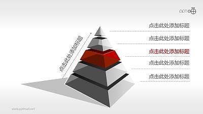 5层结构商务金字塔PPT模板下载