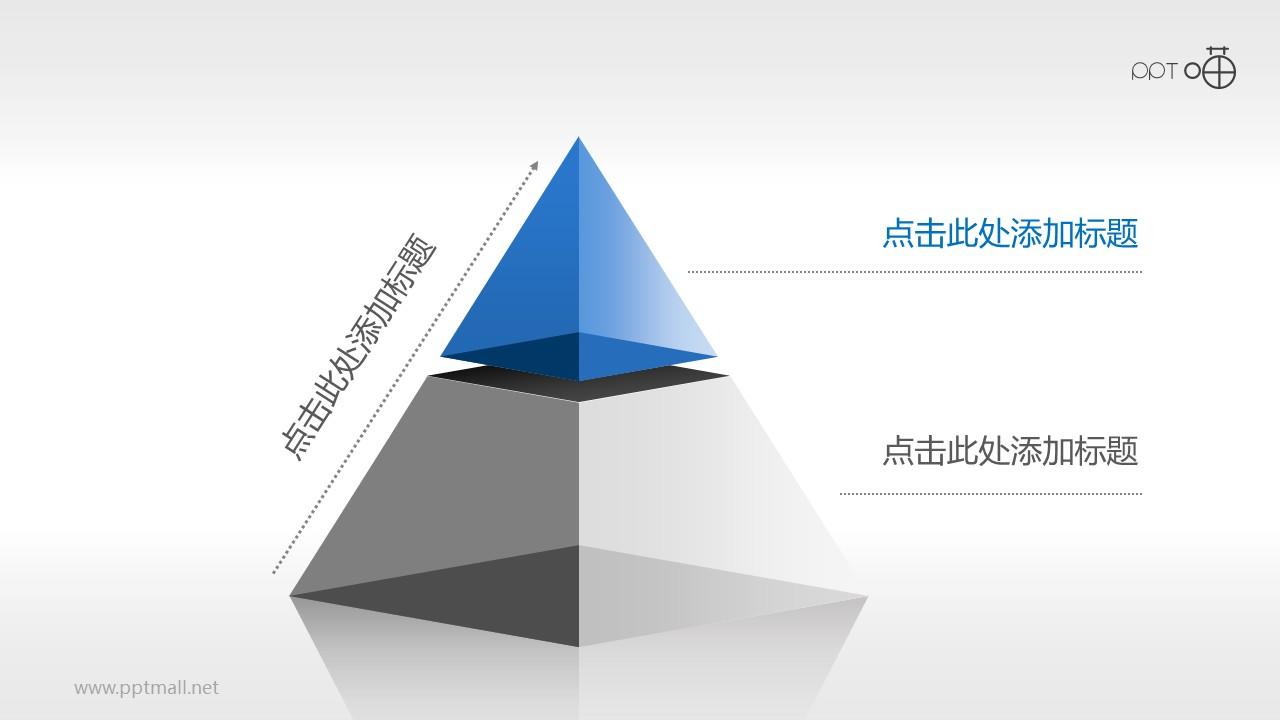 2层结构半透明金字塔PPT模板