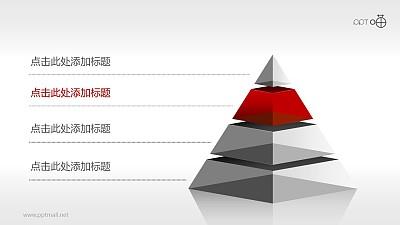4层结构半透明金字塔PPT模板