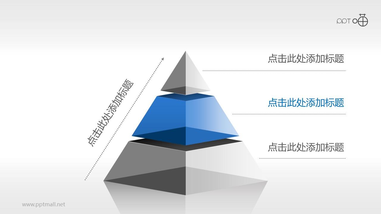 3层结构蓝灰色半透明金字塔PPT模板
