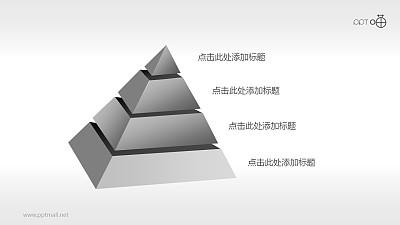 4部分结构倾斜金字塔PPT模板