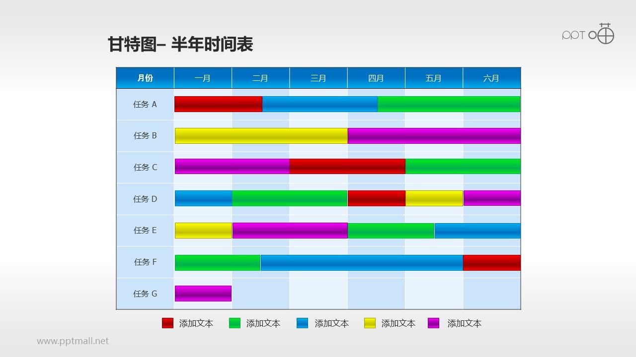 甘特图工作时间表(10)—半年工作安排表