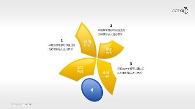 蓝黄图形组合(系列3)并列循环关系PPT素材