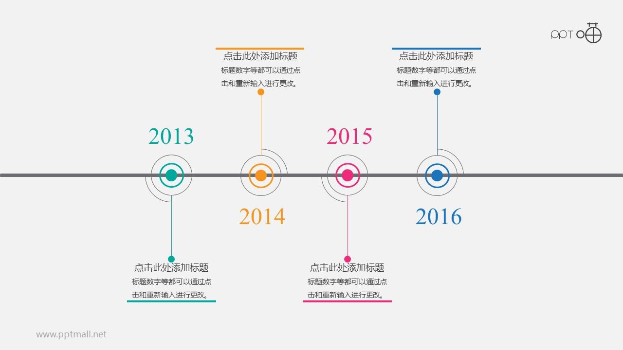 扁平清新简明时间轴【系列-03】PPT模板