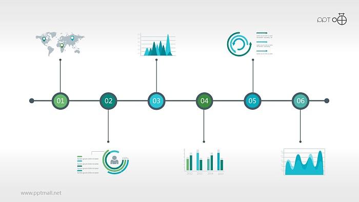 多图表蓝色时间轴PPT模板下载_幻灯片预览图1