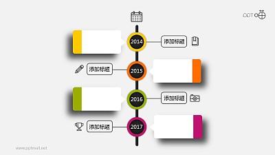 微立体小清新时间轴PPT模板下载