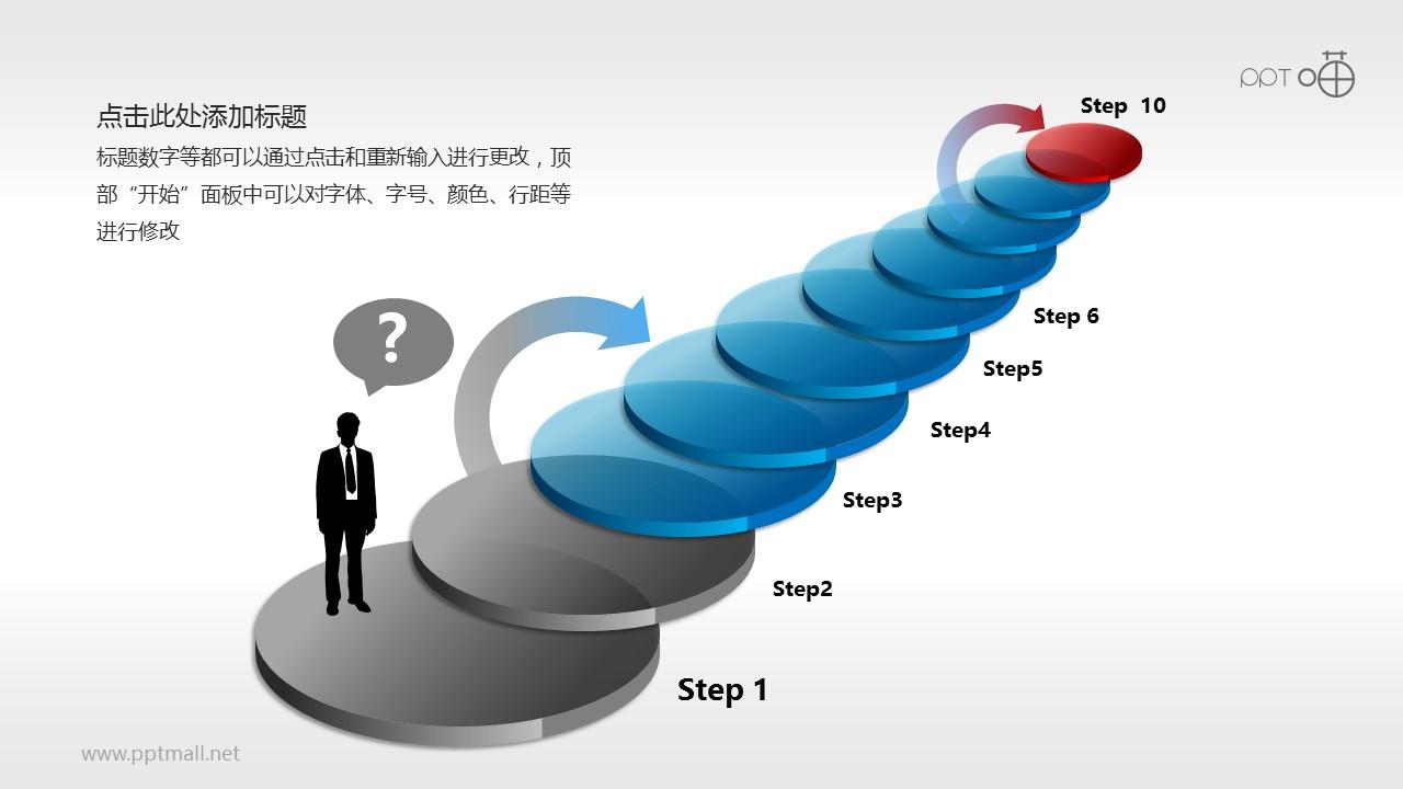 十个层层上升的步骤PPT模板