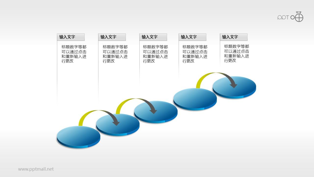 跃进式五步骤PPT素材