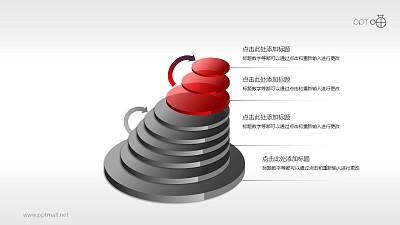 斜塔型多步骤PPT模板